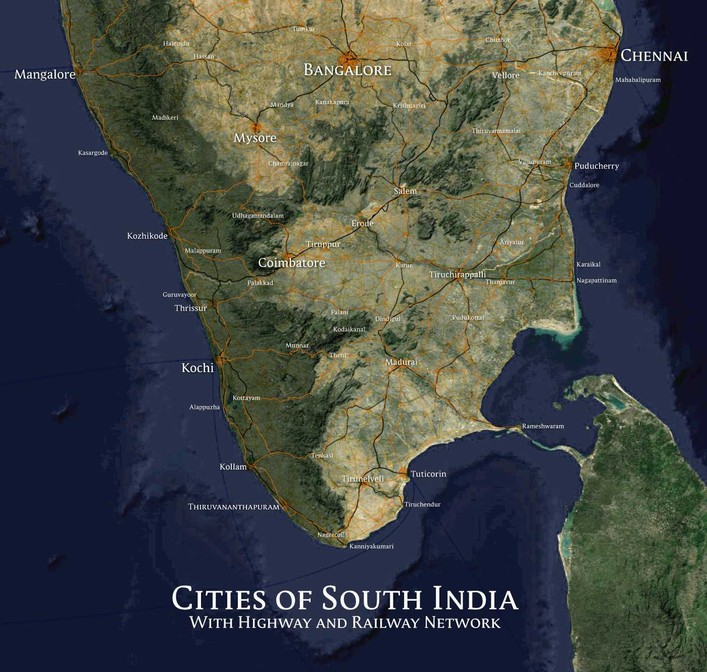 Cities_of_South_India_with_Highway_Network_Map
