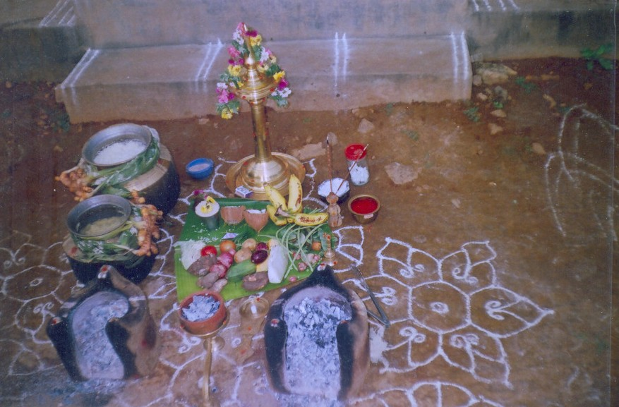 Arrangement for the puja.