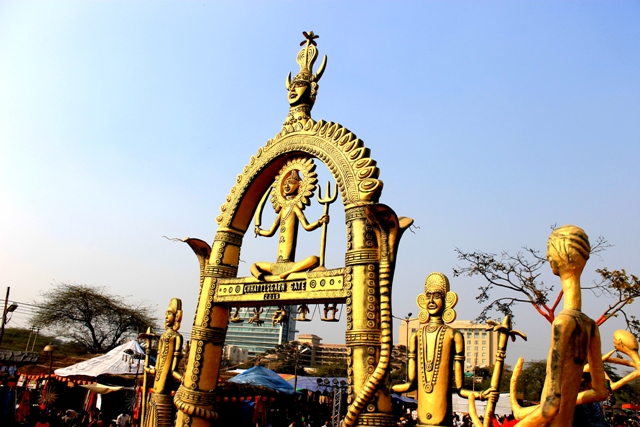 Chhattisgarh is the theme state at Surajkund International Crafts Fair 2015. Seen here is the massive entry gate created at the fair grounds. Photo: Amit Sengupta