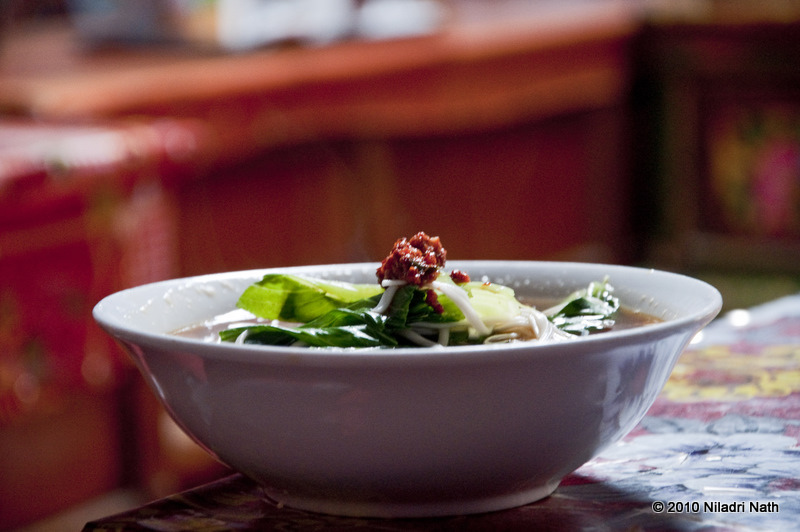 Thukpa is a Tibetan noodle soup, usually served with meat.