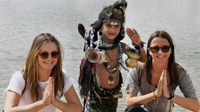 women tourist in varanasi