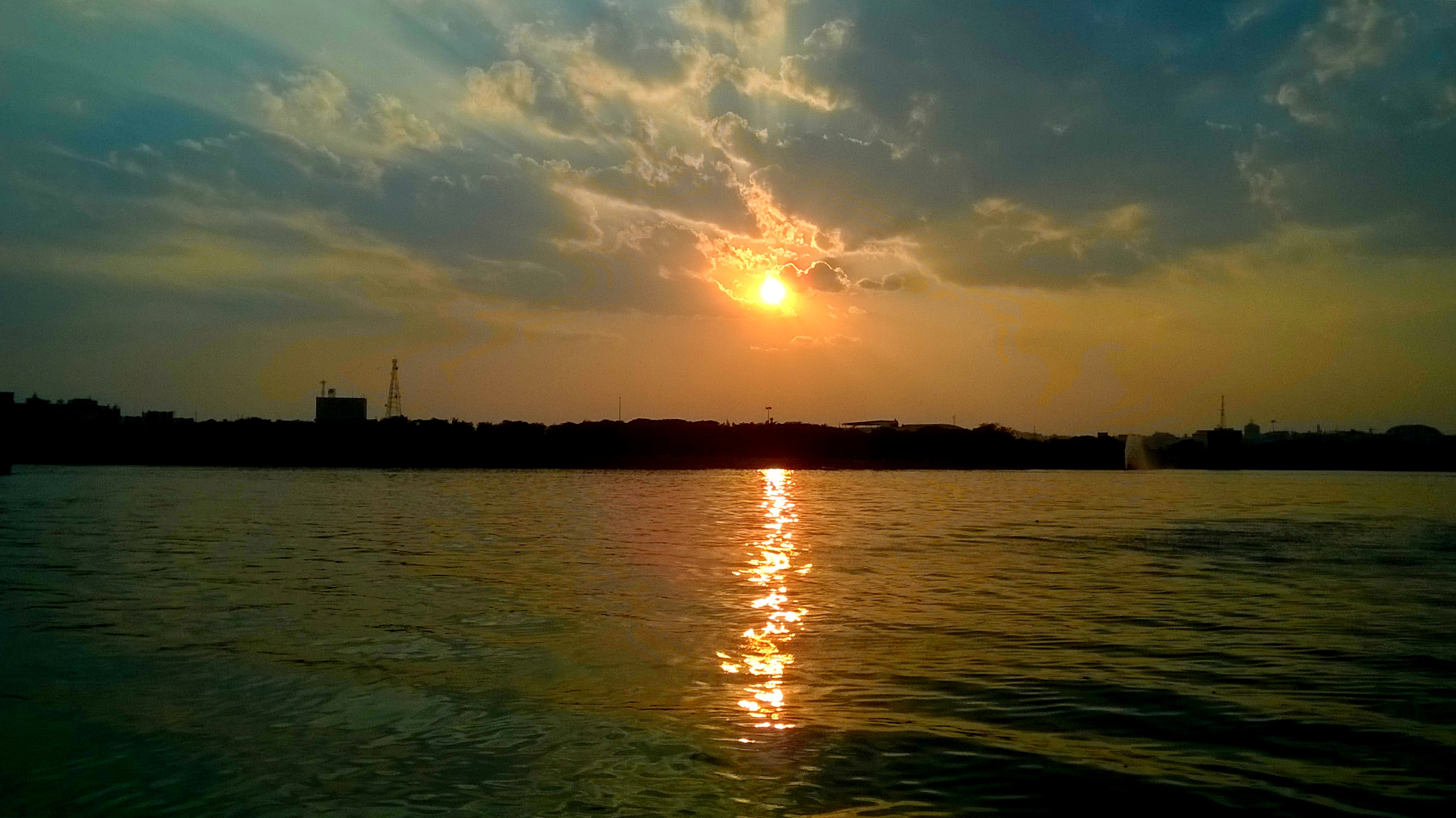The view of the sunset from the boat.